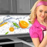 Küchenrückwand < Orange Splash > Premium Hart-PVC 0, 4 mm selbstklebend - Direkt auf die Fliesen