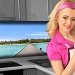 Küchenrückwand < Insel > Premium Hart-PVC 0, 4 mm selbstklebend - Direkt auf die Fliesen
