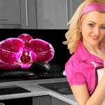 Küchenrückwand < Orchideen Pink > Premium Hart-PVC 0, 4 mm selbstklebend - Direkt auf die Fliesen