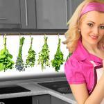 Küchenrückwand < Kräuter Büschel > Premium Hart-PVC 0, 4 mm selbstklebend - Direkt auf die Fliesen