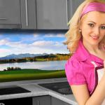 Küchenrückwand < Bergsee > Premium Hart-PVC 0, 4 mm selbstklebend - Direkt auf die Fliesen