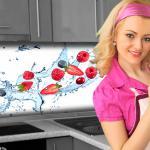 Küchenrückwand < Berry Splash > Premium Hart-PVC 0, 4 mm selbstklebend - Direkt auf die Fliesen