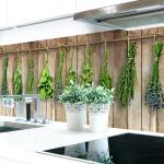Küchenrückwand Holzwand Kräuter Premium Hart-PVC 0, 4 mm selbstklebend - Direkt auf die Fliesen