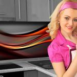 Küchenrückwand < Abstrakt Dunkel > Premium Hart-PVC 0, 4 mm selbstklebend - Direkt auf die Fliesen
