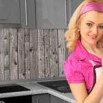 Küchenrückwand < Holzwand Grau > Premium Hart-PVC 0, 4 mm selbstklebend - Direkt auf die Fliesen