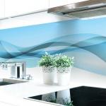 Küchenrückwand Abstrakt Hellblau Premium Hart-PVC 0, 4 mm selbstklebend - Direkt auf die Fliesen