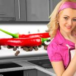 Küchenrückwand < Chilli Pfeffer > Premium Hart-PVC 0, 4 mm selbstklebend - Direkt auf die Fliesen