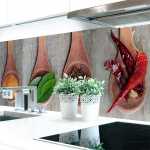 Küchenrückwand Kräuter Löffel Premium Hart-PVC 0, 4 mm selbstklebend - Direkt auf die Fliesen