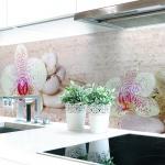 Küchenrückwand Orchideen Weiß Premium Hart-PVC 0, 4 mm selbstklebend - Direkt auf die Fliesen