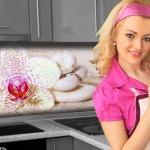 Küchenrückwand < Orchideen Weiß > Premium Hart-PVC 0, 4 mm selbstklebend - Direkt auf die Fliesen