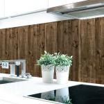 Küchenrückwand Bretterwand Dunkel Premium Hart-PVC 0, 4 mm selbstklebend - Direkt auf die Fliesen