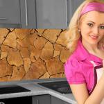 Küchenrückwand < Baumstamm Natur > Premium Hart-PVC 0, 4 mm selbstklebend - Direkt auf die Fliesen
