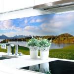 Küchenrückwand Bergsee Premium Hart-PVC 0, 4 mm selbstklebend - Direkt auf die Fliesen