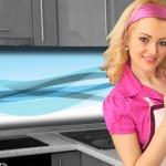 Küchenrückwand < Abstrakt Hellblau > Premium Hart-PVC 0, 4 mm selbstklebend - Direkt auf die Fliesen