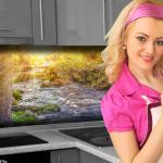 Küchenrückwand < Waldbach > Premium Hart-PVC 0, 4 mm selbstklebend - Direkt auf die Fliesen