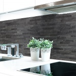Küchenrückwand Steinwand Dunkel Premium Hart-PVC 0, 4 mm selbstklebend - Direkt auf die Fliesen