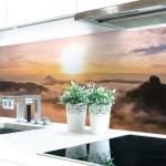 Küchenrückwand Alpen Sonne Premium Hart-PVC 0, 4 mm selbstklebend - Direkt auf die Fliesen