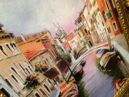 Venedig Brücke Boot Gerahmte Gemälde 90x70 Italien Venezia Venedig Gondel - Vorschau 3