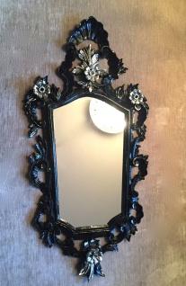 Wandspiegel Barock Schwarz Silber Spiegel Antik Badspiegel Barspiegel 83x43 Oval