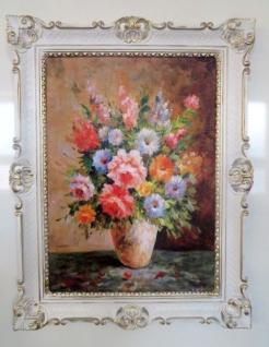 Bild mit Rahmen Gemälde Blumen Gerahmte Wilde Rosen in Vase Gelb 90x70 Flower 96