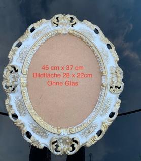 Bilderrahmen Oval Weiß-Gold Antik Barock Fotorahmen Rahmen 45X37 Spiegelrahmen