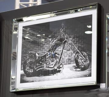 Wandbild Motorrad Schopper Spiegelrahmen Glas 80x60 cm schwarz/weiß Fotografie