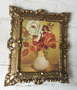 Bild mit Rahmen Gold Blumen Rosen Bild Blumen Rechteckig 45x38 Barock 345 B6