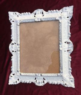Bilderrahmen Weiß SILBER Antik mit Schutzglas Rechteckig Fotorahmen 45x38 Barock