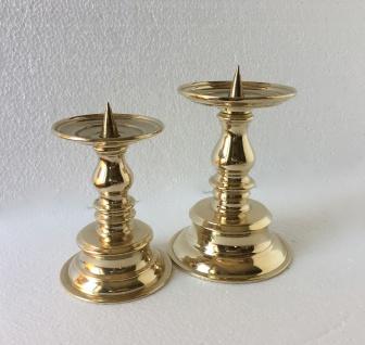 Kerzenhalter Messing Poliert Kerzenleuchter Gold 17cm Massiv Kandelaber 82279 - Vorschau 5