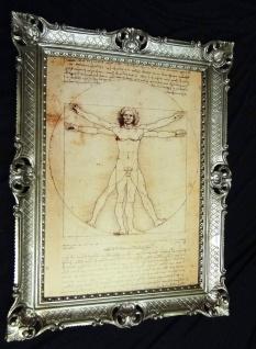 GEMÄLDE Barock 70x90 Bilderrahmen Antik Leonardo da Vinci Vitruvianischer Mensch