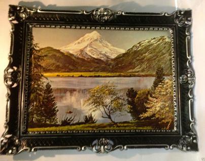 Landschaftsgemälde Berge See Meer Bäume 90x70 Wohnzimmerbild Gerahmte Gemälde