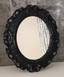 Wandspiegel Schwarz Barock Oval Spiegel Antik 45x38 Bad/Flur/Kosmetikspiegel