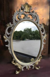 Bad-Flur Spiegel Antik Weiß Gold Oval 43x27 Schminkspiegel Wandspiegel C531