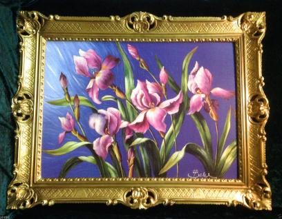 Blumen Lilien Lila Gerahmte Gemälde 90x70 Bild Blumen Bilder mit Rahmen Orchidee