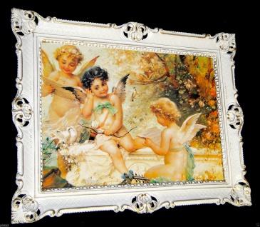 Schutzengel Bild mit Rahmen Engelbild 90x70 Weiß-Gold Gemälde Engel Heilige Bild