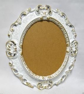 BILDERRAHMEN OVAL Weiß-Gold Antik Barock Fotorahmen 45X37 Spiegelrahmen Neu