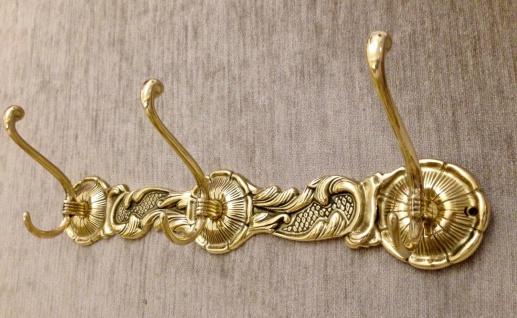 Kleiderhaken Mehrarmig 6 Haken Wandhaken Garderobenhaken Messing Gold 40x7x11cm