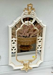 Barock Wandspiegel Elfenbein-Gold Prunk Spiegel Antik Rokoko Badspiegel 59x32 - Vorschau 3