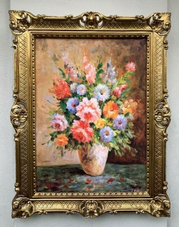 Gemälde Blumen Bilder 90x70 Blumen in Vase Bild Barock Rahmen Bunteblumen Rosen