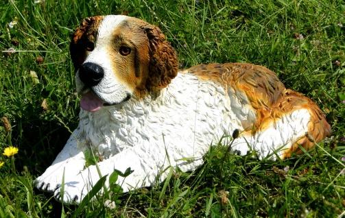 Hunde Figur Bernhardiner Groß HUND 51x26x24 Naturecht Tierfigur Deko aus ITALY