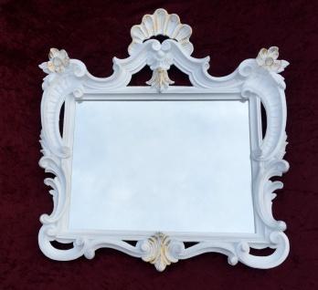 Wandspiegel Weiß-Gold Antik Barock Badspiegel Flur Spiegel 60X57 Jugendstil c494