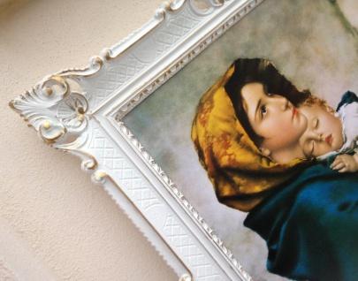 Bild mit Rahmen Gemälde Heilige Mutter Maria Kind 90x70 Christliche Wandbilder