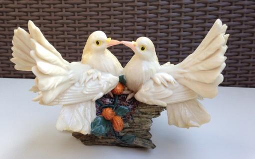 Restposten Brieftauben Paar Figuren 24cm Weiße Tauben Vogel Statue Sonderposten