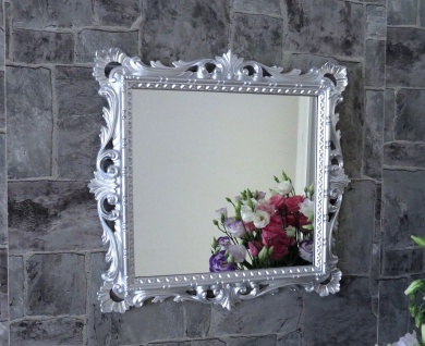 Wandspiegel Barock Silber Hochglanz 38x36 Kosmetikspiegel Antik Badspiegel - Vorschau 3