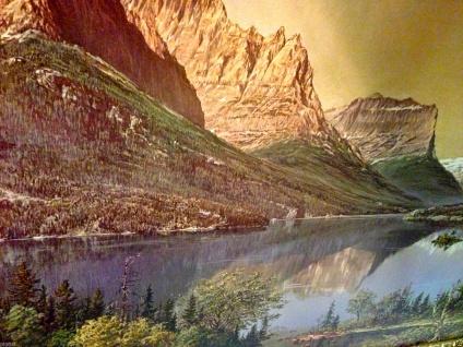 Landschaftsbild Berge und See Gemälde Wandbild 40x30 ohne Rahmen MDF Rückwand