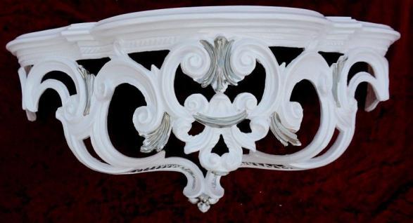 Wandkonsole Konsole Barock Weiß Silber 50x20x24 Wandregale Antik Spiegelkonsole - Vorschau 2