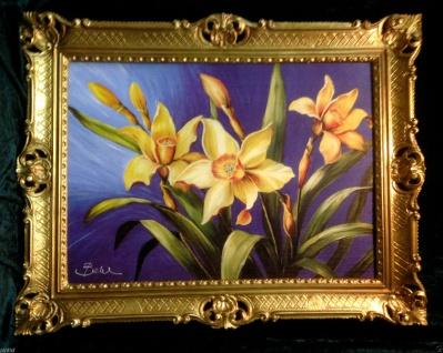 Blumen Narzissen Gold Gerahmte Gemälde 90x70 Bild mit Blumen Bilder mit Rahmen