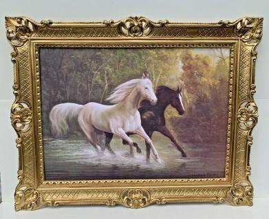 Pferde Bild 90x70 Pferd Gemälde Pferde Barock Wandbild Bild Tiere Kunstdruck