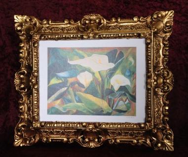 Bild mit Rahmen Gold Blumen Calla Bild Blumen Rechteckig 45x38 Barock 345B