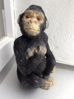 Affenfigur Gorilla Schwarz Figur Deko Massiv Balkon Garten Deko 14x8cm skulpture